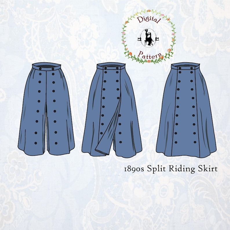Vintage Western Wear Clothing, Outfit Ideas     1890s Split Riding Skirt Sewing Pattern | Victorian Cycling Skirt / Riding Culottes with Panel | PDF Digital  Historical Sewing Pattern $12.78 AT vintagedancer.com