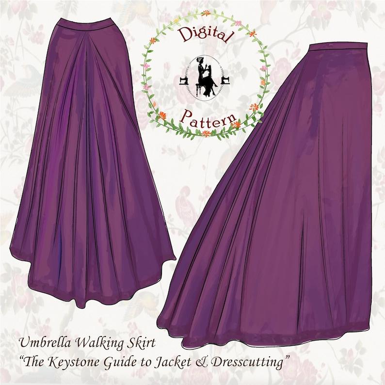 Victorian Skirts   Edwardian Skirts     1890s Umbrella Walking Skirt Sewing Pattern   Keystone Guide to Jacket and Dresscutting   PDF Digital Vintage Sewing Pattern $12.78 AT vintagedancer.com