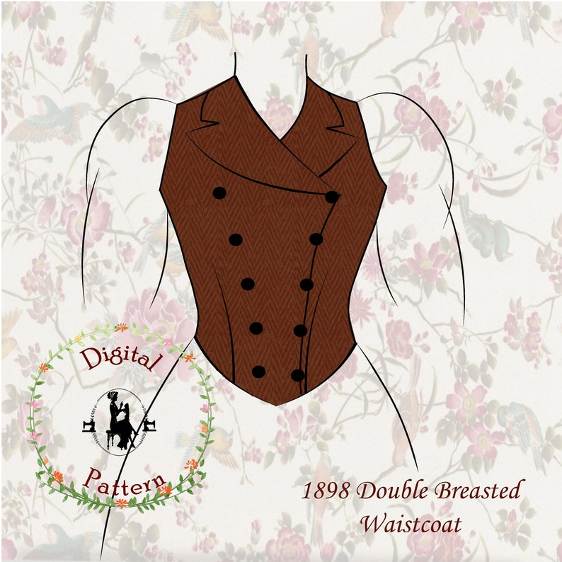 Vintage Western Wear Clothing, Outfit Ideas     1895 Victorian Double Breasted Waistcoat | Keystone Guide to Jacket and Dresscutting | PDF Digital Vintage Historical Sewing Pattern $16.90 AT vintagedancer.com