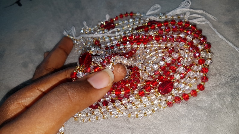 Tie on Crystal African Waist beads for weight loss