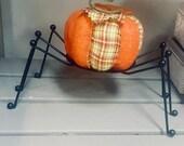 Halloween Metal Spider Pumpkin Holder - Candy Bowl Holder - Halloween Candle Holder