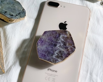 Amethyst Purple Anthe Crystal Agate Mobile Phone Grip Stand Holder for Smartphone Tablet Gemstone Natural Stone Cellphone Accessory