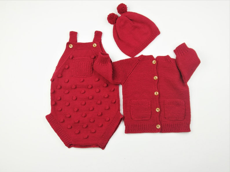 Baby sweater- Baby Gift Sweater Knitted Baby Dungaree Cardigan and Beret Knitted Baby Clothes Baby Outfit Baby Romper