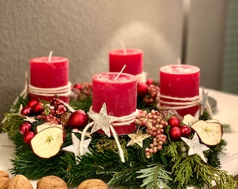 Christmas wreath with red candles, Advent wreath, table decoration