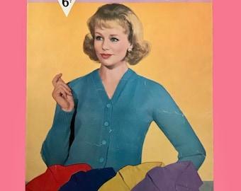 """Bestway 3363 ~ Vintage Knitting Pattern for Ladies Cardigan 32""""-40"""" Bust ~ DK"""