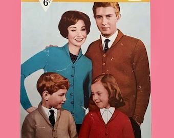 """Bestway 3336 ~ Vintage Knitting Pattern for Ladies, Men's, Children's Cardigan 22""""-44"""" Chest ~ DK"""