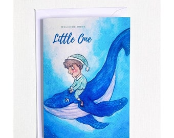 Welcome Little One Card | Welcome Home I New Baby Card | Watercolour Print | Baby Shower | Luxury Card| Welcome to the World| Whale Print