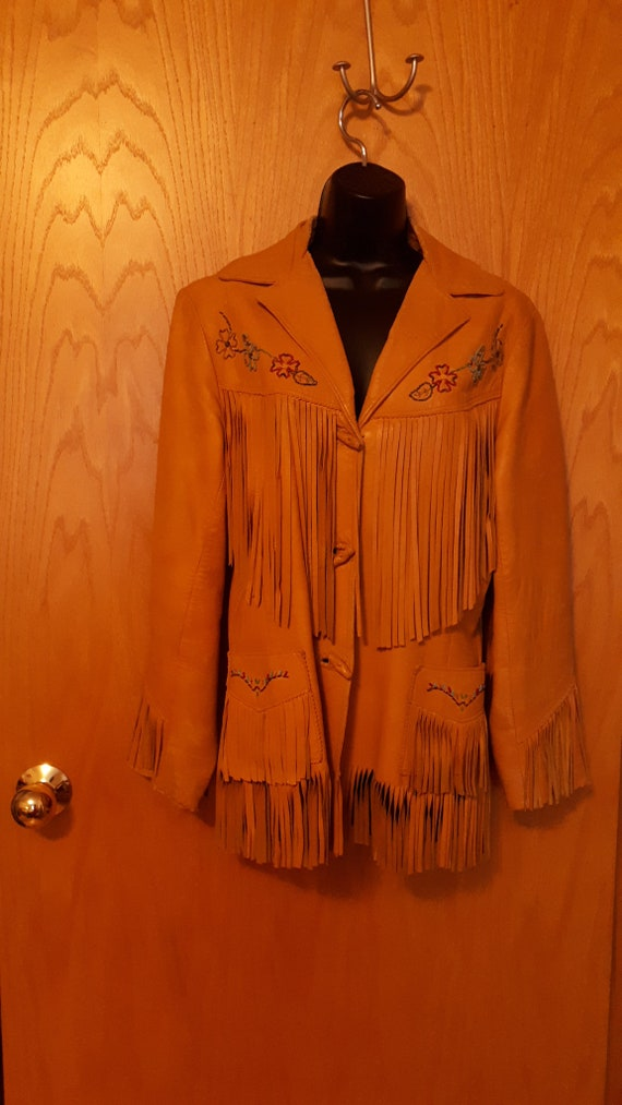 Vintage Chris Line Beaded Leather Fringe Jacket