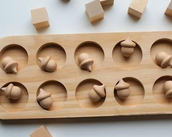 X-Large 10 Frame, Montessori Math, Learn to Count, Loose Parts, Preschool curriculum, Homeschool, Wood toy, peg doll, Preschool math
