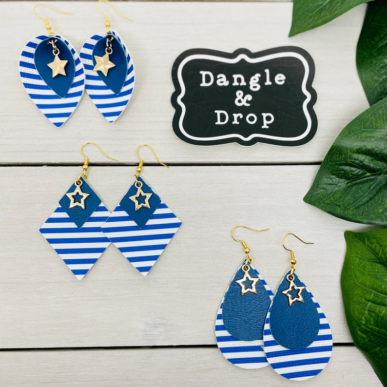 Blue Earrings Leather Earrings Royal Blue Stripe Earrings Gold Charm Striped Teardrops Gifts for Her Gold Star Jewelry Nautical Theme