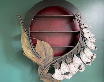 Foxglove Wall Art  Altar Shelf  / White Flowers /  Ready to Ship / Goth Room Decor / Essential Oil Shelf  / Digitalis Art / Air Plant Hanger