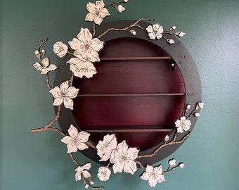Cherry Blossom Wall Altar Shelf  / Ready to Ship / Air Plant Hanger / Essential Oil Shelf / Cherry Blossom Tree Flower Shelf