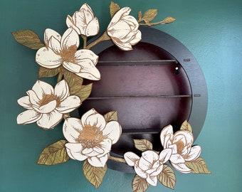 Magnolia Wall Altar Shelf  / Ready to Ship / Goth Room Decor / Essential Oil Shelf / Magnolia Tree Flower Shelf / Air Plant Hanger