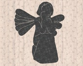 Sitting Christmas Angel Silhouette SVG File Cricut for Creative Ornaments