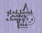A glad Heart Makes a Happy Face SVG Cut File, Bible Text SVG, SVG Bible Cut File, Bible Quote Cuttable, Bible Quote Digital Download