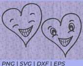 Grinning Smiling Heart SVG Cut Files for Cricut and Silhouette to T-Shirts Cards or Tattoo's