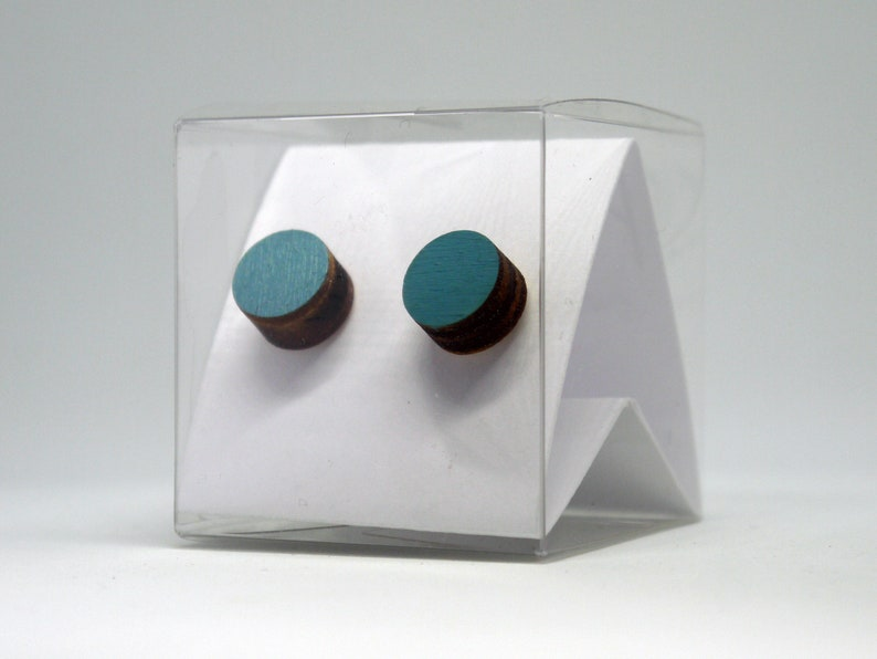 Laser cut wood stud earrings in turquoise Minimalist and colorful aquamarine posts Handmade round post earrings Design studs for women