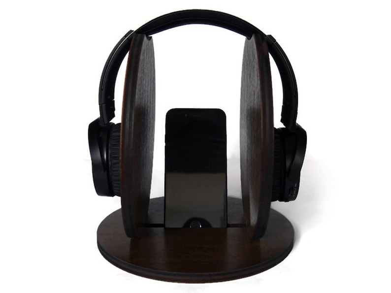 Cool laser cut wood headphone stand for gamers with phone stand Wooden colorful desk pc gaming accessories,Geek holder for headset with mic