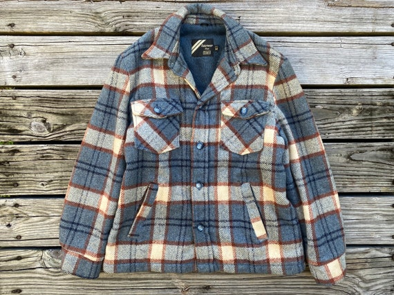 1970s L/XL Outerwear From Sears Flannel Shirt Plai