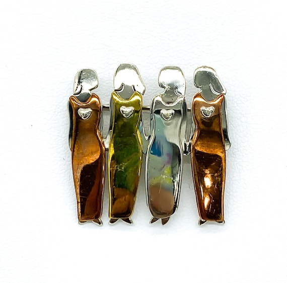 Vintage Artisan Made Sterling Silver Four Sisters