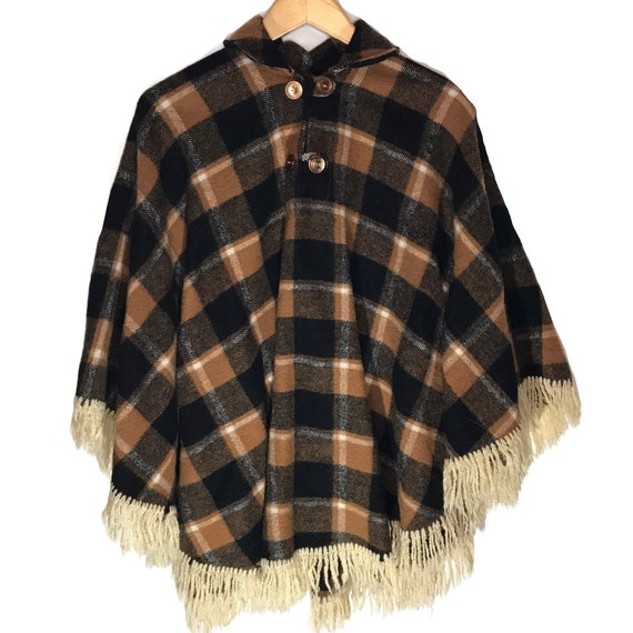 Vintage Wool Tan and Black Plaid Cape/ Poncho - image 1