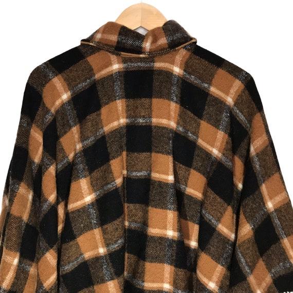 Vintage Wool Tan and Black Plaid Cape/ Poncho - image 6