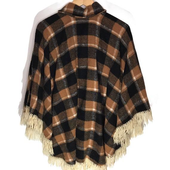 Vintage Wool Tan and Black Plaid Cape/ Poncho - image 4