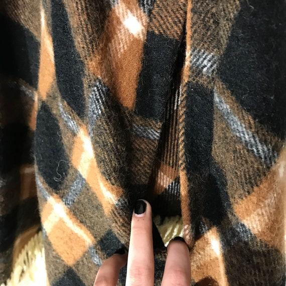 Vintage Wool Tan and Black Plaid Cape/ Poncho - image 8
