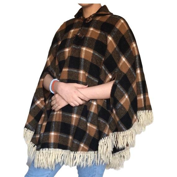 Vintage Wool Tan and Black Plaid Cape/ Poncho - image 9