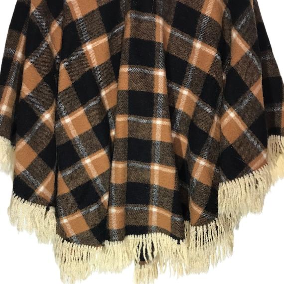 Vintage Wool Tan and Black Plaid Cape/ Poncho - image 2