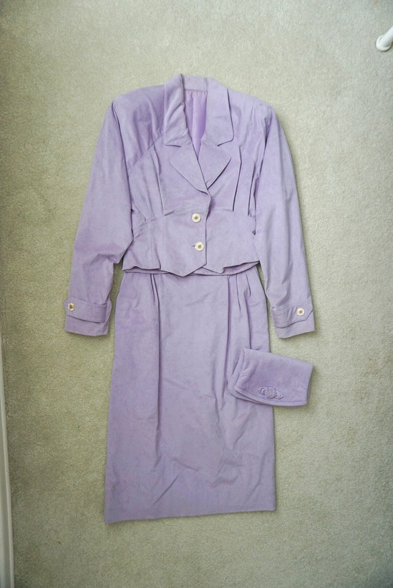 1980s Vintage Working Woman Purple Suit