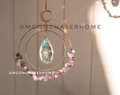 Aziza suncatcher with moon and aurora borealis crystals, rainbow prism, gift for woman, light diffuser, boho home decoration, fairy decor,