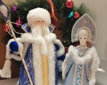 Ded Moroz and Snegurochka, Russian festive dolls, 2 favorite dolls together, 35cm