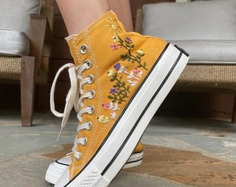 Converse Chuck Taylor 1970s custom floral embroidery, universe and stars embroidery