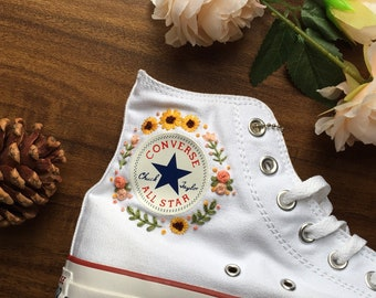 Custom Converse Embroidered Bees and sweet Flowers/ Convesr Chuck Taylor Embroidered Personalized