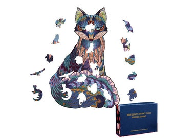 211 Pieces Wooden Jigsaw Puzzles Unique Shape Color Jigsaw Puzzle Pieces Best Gift for Adults and Kids Nine-Tailed Fox 10.2 x 11.2 inches