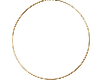 Omega choker in 925 sterling silver, 14K gold plated, various lengths, Mariposa design.