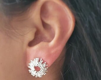 Chopsticks stud earrings round sun minimal coral sun rod 925 sterling silver, Mariposa design