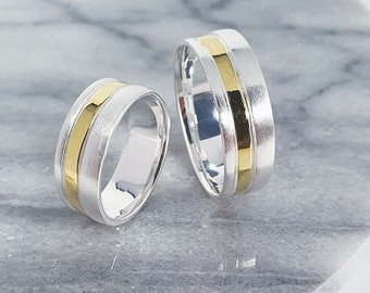 Classic bicolor smooth ring, engagement ring, partner ring, 925 sterling silver, 14K gold plated stripes, Mariposa design