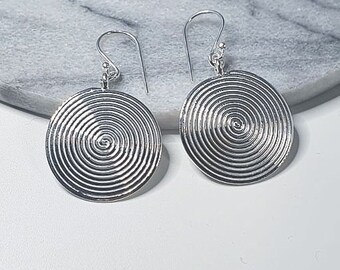 Earrings Spirals Coin Round Slice of 925 Sterling Silver, Handmade, Ethno, Mariposa Design