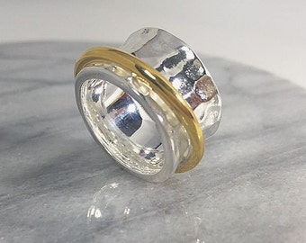 Spinner ring solid 925 sterling silver hammered gold ring 14K gold plated, Mariposa design