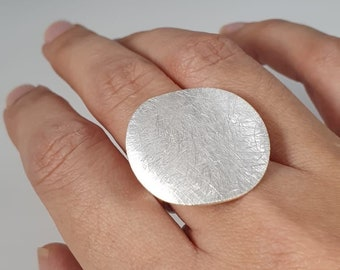 Ring brushed, round, wavy, disc, 925 sterling silver, solid, mariposa design