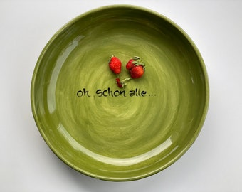 mthly. gr. flat BOWL in desired color and text