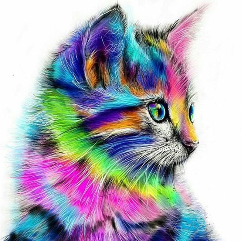 5D DIY Diamond Painting Cat Butterfly by Numbers Kits for Adult Kids Embroidery Painting for Home Wall Decor Painting Arts Craft