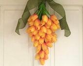 Tulip swag for front door, Easter Carrot wreath, Spring orange tulips wreath