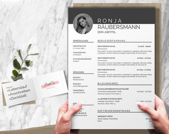 Application template german, CV, cover letter, cover page, Word & Pages