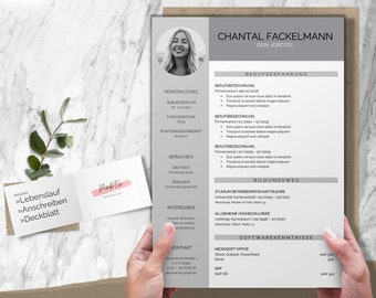Application template German: CV template, cover letter, cover page   Word & Pages