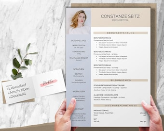 CV template German   with cover letter, cover sheet, attachments   Word & Pages