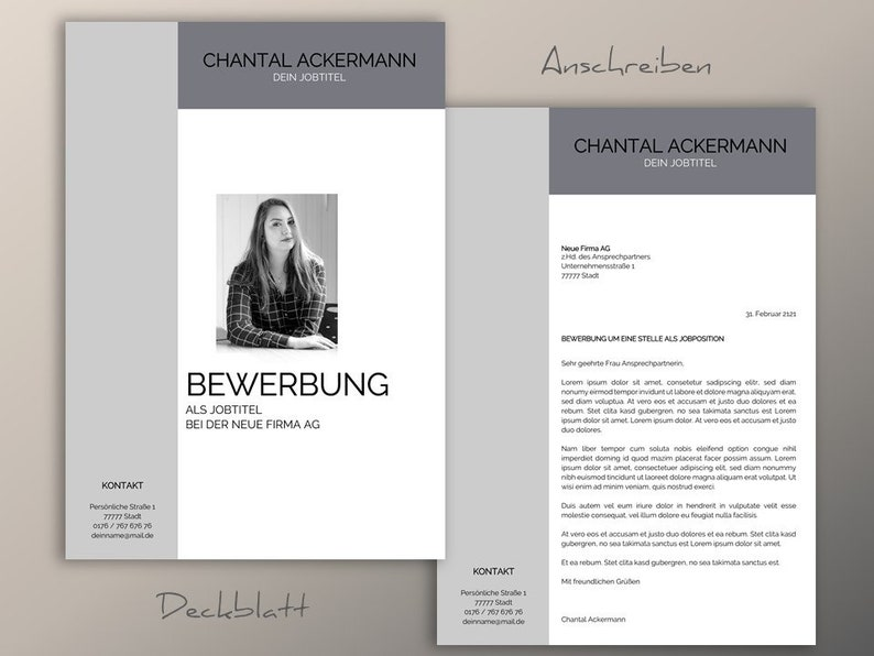 Application template German grey Chantal Curriculum vitae cover cover Professional gold for Word /& Pages Instant download