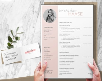 Pastel application template   Professional CV template German   Word, Pages, OpenOffice, LibreOffice   CV, cover letter, cover page